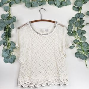 Miss Me Lace Beaded Collar Blouse   NWOT   Small